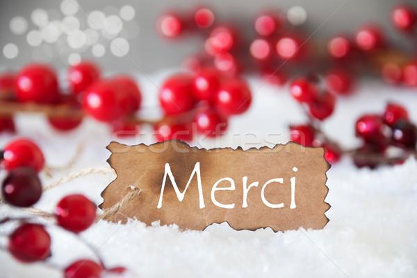 Burnt Label, Snow, Bokeh, Text Merci Means Thank You Stock photo © Nelosa