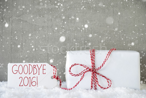 Gift, Cement Background With Snowflakes, Goodbye 2016 Stock photo © Nelosa