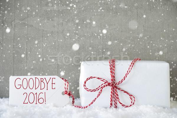 Ajándék cement hópelyhek viszlát 2016 egy Stock fotó © Nelosa