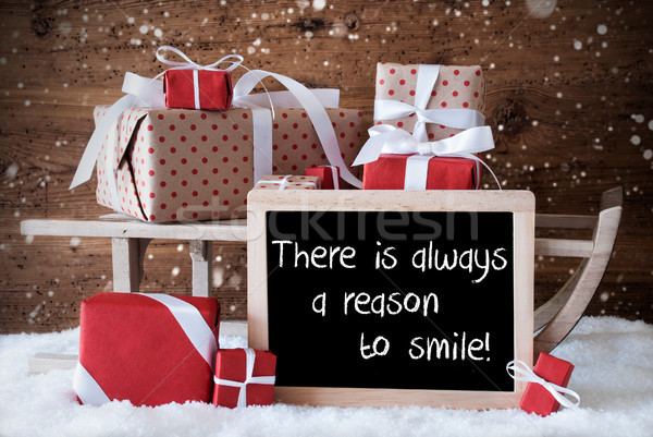 Sleigh With Gifts, Snow, Snowflakes, Quote Always Reason To Smile Stock photo © Nelosa