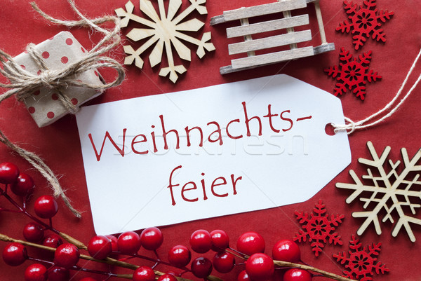 Stock photo: Label With Decoration, Weihnachtsfeier Means Christmas Party