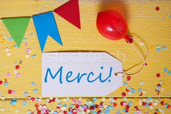 Party Label, Confetti, Balloon, Merci Means Thank You Stock photo © Nelosa