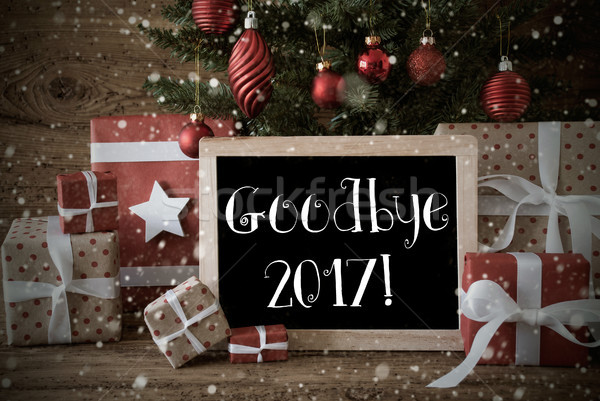Nostalgic Christmas Tree With Goodbye 2017, Snowflakes Stock photo © Nelosa
