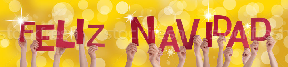 Spanish Feliz Navidad on Golden Background Stock photo © Nelosa