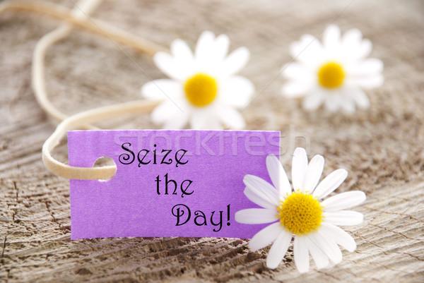 Etiket gün mor sözler çiçek gülümseme Stok fotoğraf © Nelosa