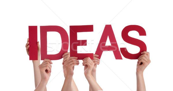 Many People Hands Holding Red Straight Word Ideas Stock photo © Nelosa
