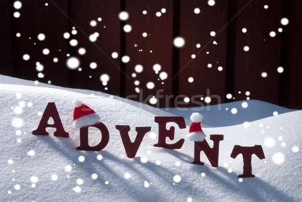 Advent karácsony idő hópelyhek mikulás kalap Stock fotó © Nelosa