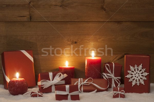 Christmas Decoration With Red Candles, Presents, Gifts And Snow Stock photo © Nelosa