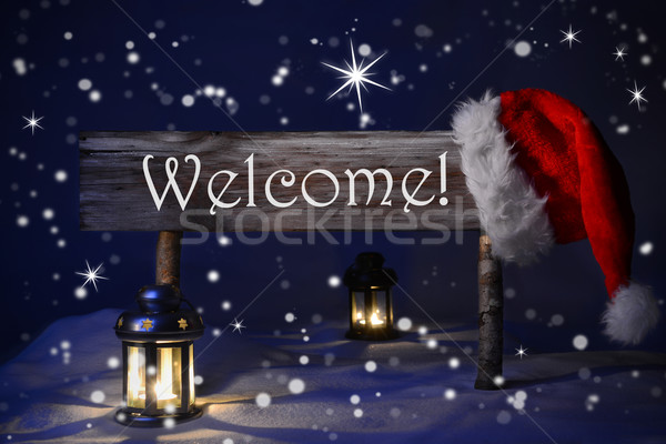 Christmas Sign Candlelight Santa Hat Welcome Stock photo © Nelosa