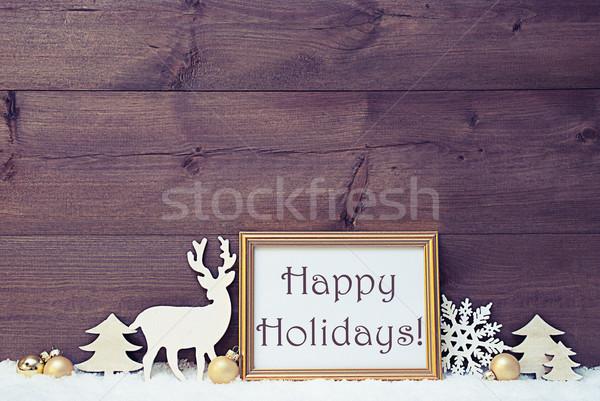 Vintage White And Golden Christmas Card, Snow, Happy Holidays Stock photo © Nelosa