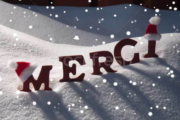 Stock photo: Christmas Card With Snow, Merci Mean Thank You, Snowflakes, Hat