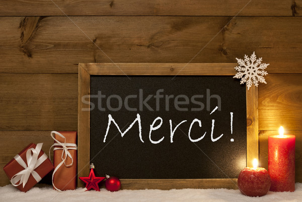Festive Christmas Card, Blackboard, Snow, Merci Mean Thank You Stock photo © Nelosa