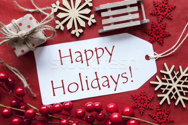 Etiket Noel dekorasyon metin mutlu tatil Stok fotoğraf © Nelosa