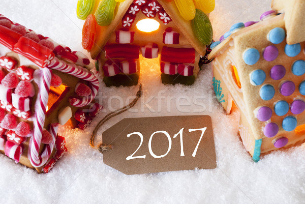 Stock photo: Colorful Gingerbread House, Snow, Text 2017