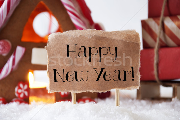 Gingerbread House With Sled, Text Happy New Year Stock photo © Nelosa