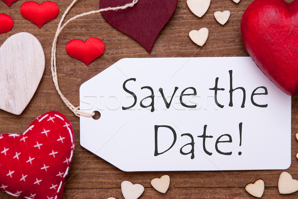 Label, Red Hearts, Flat Lay, Text Save The Date Stock photo © Nelosa