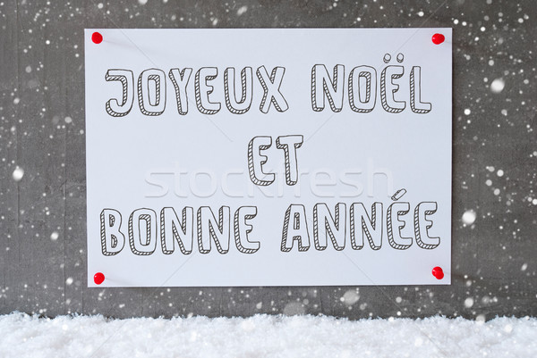 Label On Cement Wall, Snowflakes, Bonne Annee Means New Year Stock photo © Nelosa