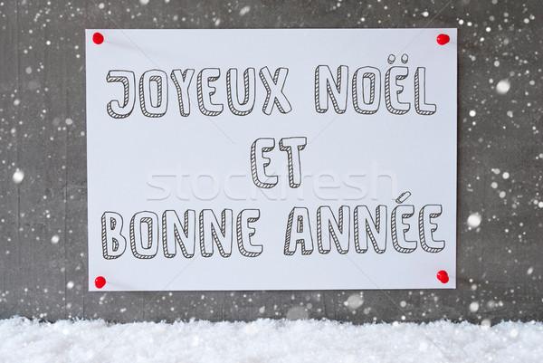Etichetta cemento muro fiocchi di neve capodanno francese Foto d'archivio © Nelosa