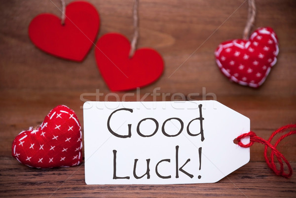 Read Hearts, Label, Text Good Luck Stock photo © Nelosa