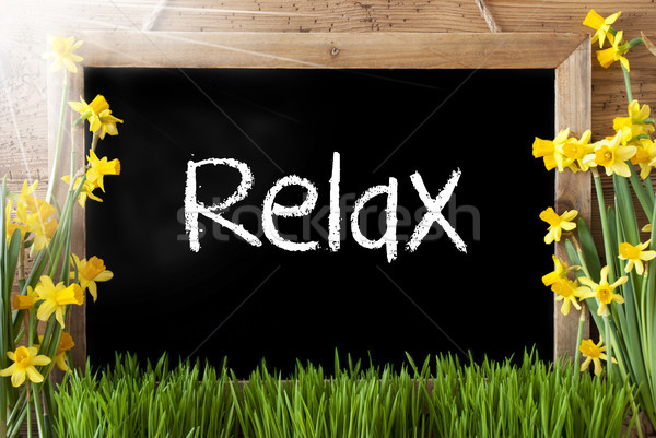 Sunny Spring Narcissus, Chalkboard, Text Relax Stock photo © Nelosa