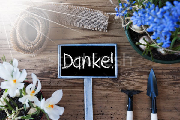 Sunny Spring Flowers, Sign, Danke Means Thank You Stock photo © Nelosa