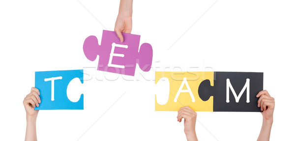 Hands Holding Puzzle with Team Stock photo © Nelosa