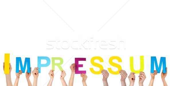 hands holding impressum Stock photo © Nelosa