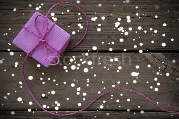 Purple Gift With Ribbon With Snowflakes Stock photo © Nelosa