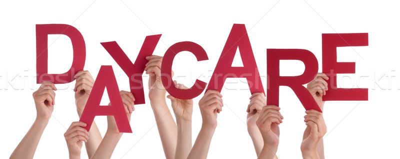 Many People Hands Holding Red Word Daycare Stock photo © Nelosa