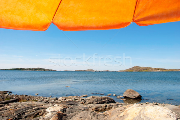 Swedish Coast With Orange Parasol Stock photo © Nelosa