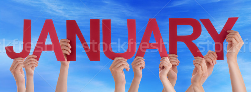 Hands Holding Red Straight Word January Blue Sky Stock photo © Nelosa