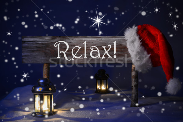 Christmas Sign Candlelight Santa Hat Relax Stock photo © Nelosa