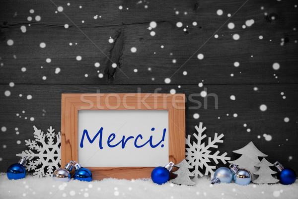 Blue Gray Christmas Decoration, Snow, Merci, Thanks, Snowflakes Stock photo © Nelosa