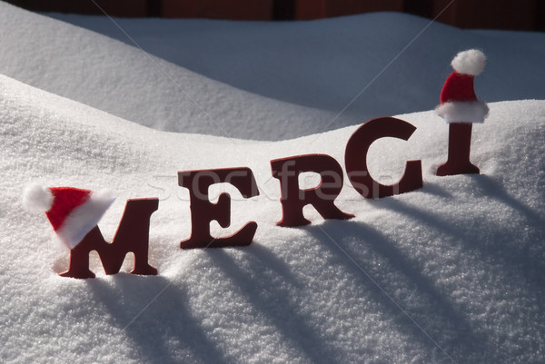 Christmas Card With Snow, Merci Mean Thank You, Santa Hat Stock photo © Nelosa