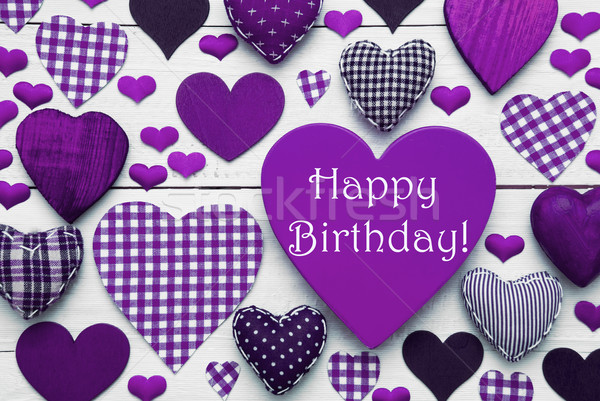 Pruple Heart Texture With Happy Birthday Stock photo © Nelosa