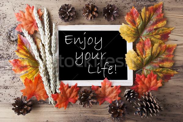 доске осень украшение цитировать наслаждаться жизни Сток-фото © Nelosa