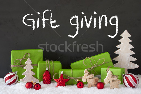Stock photo: Christmas Decoration, Cement, Snow, Text Gift Giving