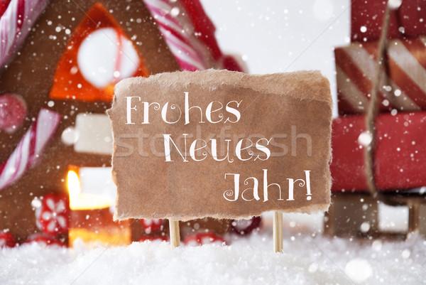 Stockfoto: Peperkoek · huis · sneeuwvlokken · nieuwe · landschap · christmas