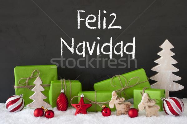 Decoration, Cement, Snow, Feliz Navidad Means Merry Christmas Stock photo © Nelosa