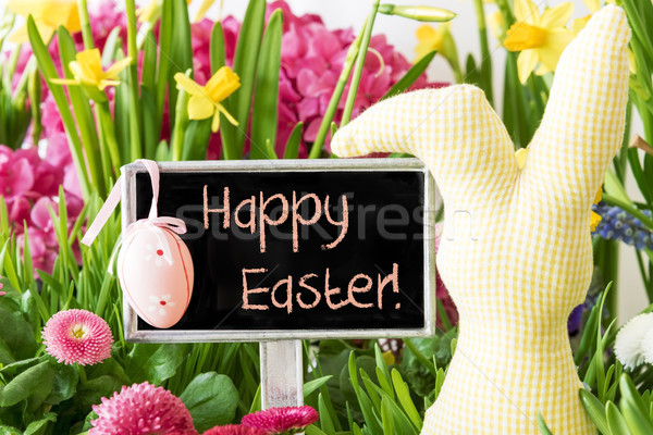 Easter Bunny, Colorful Spring Flowers, Text Happy Easter Stock photo © Nelosa