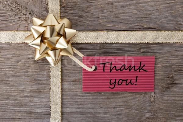Obrigado dom etiqueta vermelho dourado arco Foto stock © Nelosa
