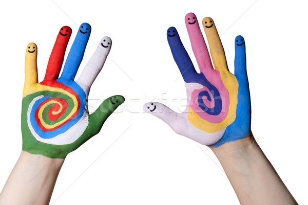 hands with smiling fingers Stock photo © Nelosa