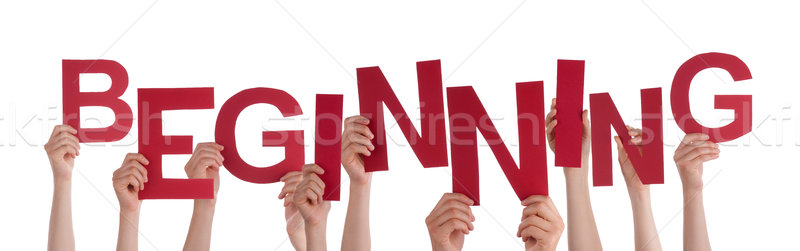 Many People Hands Holding Red Word Beginning  Stock photo © Nelosa