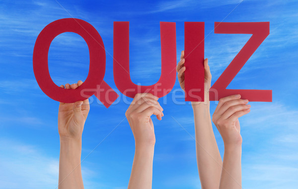 Many People Hands Holding Red Straight Word Quiz Blue Sky Stock photo © Nelosa