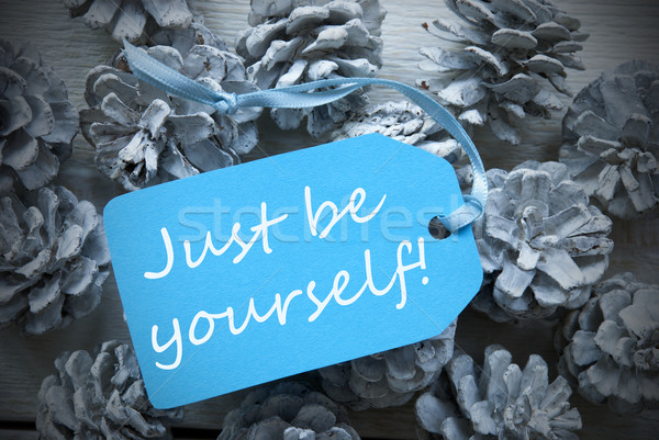 Light Blue Label On Fir Cones Quote Just Be Yourself Stock photo © Nelosa