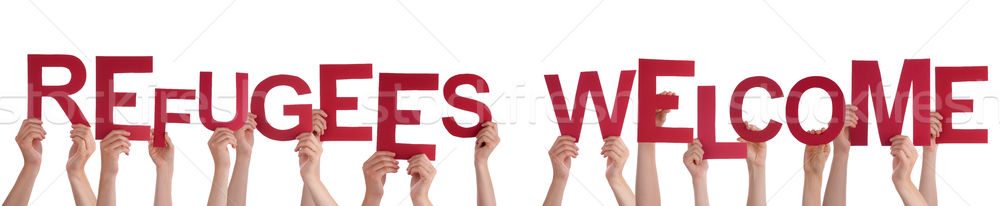 Many People Hands Holding Word Refugees Welcome Stock photo © Nelosa