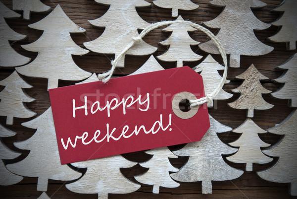 Piros karácsony címke boldog hétvége szalag Stock fotó © Nelosa