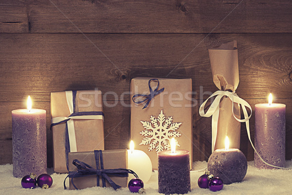 Vintage And Shabby Chic Purple Christmas Gifts With Candles Stock photo © Nelosa