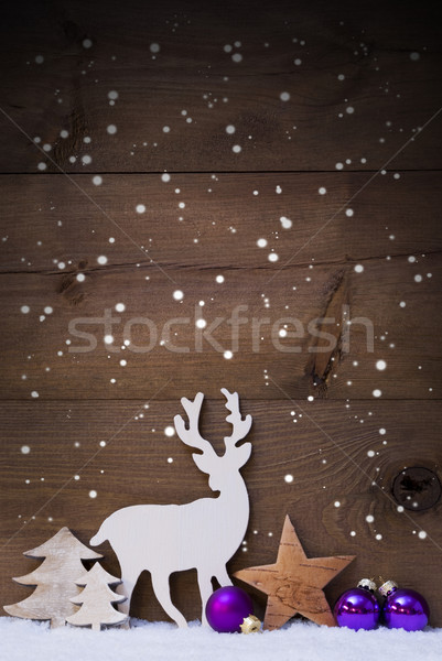 Vertical Purple Christmas Card With Copy Space, Snowflakes Stock photo © Nelosa