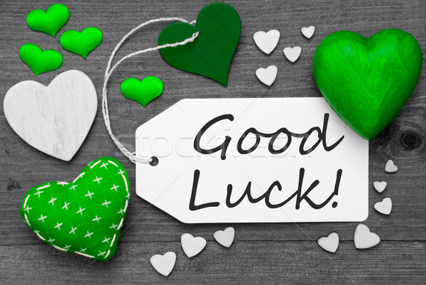 Black And White Label With Green Hearts, Text Good Luck Stock photo © Nelosa
